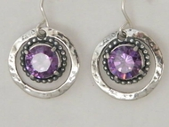 Israeli sterling silver with Swarovski crystals dangle earrings