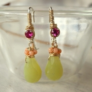 Jade gemstones coral earrings