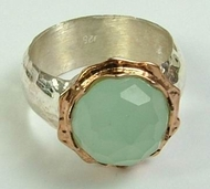 Jade Israeli silver and gold Ring from Bluenoemi