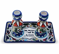 Jerusalem Armenian ceramics candlestick for Shabbath with plate