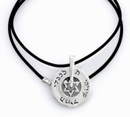 Kabbalah silver star of David wheel necklace