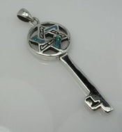 Key sterling silver pendant star of David opal