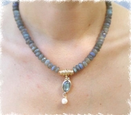 Labradorite, gold filled and pearl handcrafted necklace.