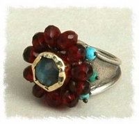Labradorite Quartz & Turquoise Eye Ring