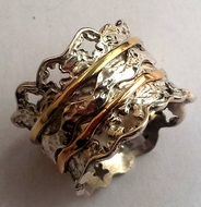Lace designer ring silver gold spinner rings