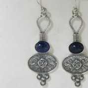Lapis silver dangling earrings | Israeli silver earrings