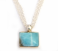 Larimar sterling silver & 9 ct gold necklace