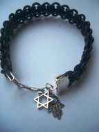 Leather braided bracelet sterling silver star of David & Hamsa charms