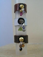 Leather fashion rings semi precious stones and crystals