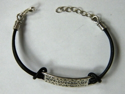 Leather silver bracelet Joy Love