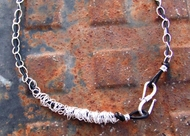 Leather silver necklace