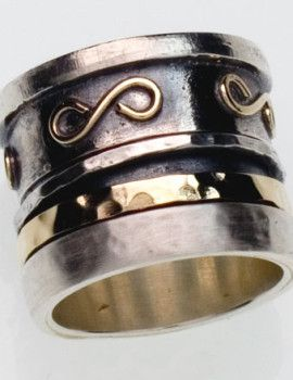 Israeli silver and gold spinner ring