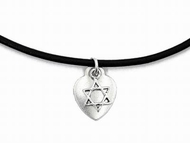 Leather strip necklace star of David