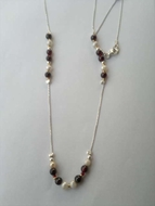 Long necklace garnets pearls sterling silver