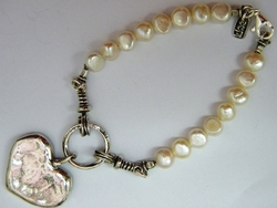 Love heart bracelet pearls Valentine gift handcrafted in Israel