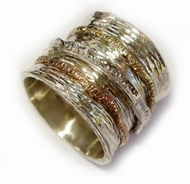 Man's spinner ring silver and gold - Woman wide band ring - Bague - anillo