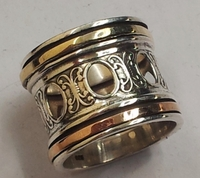 Mediatation ring sterling silver and gold spinner band