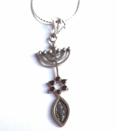 Messianic Menorah fish star of David Necklace