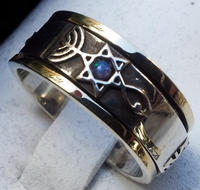 Messianic ring silver gold blue opal