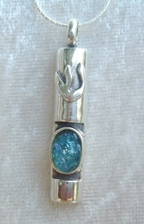 Mezuzah necklace jewish jewelry Roman glass gift of Luck