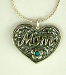 Mom's necklace flower turquoise heart shape