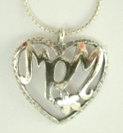 Moms necklace silver heart pendant necklace