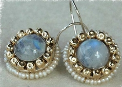 Moonstone earrings with delicate pearls woven with goldfilled