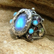 Moonstone, Lab Opal & Sterling Silver Queen Ring October Birthstone