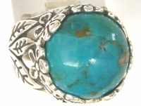 Native America inspired turquoise and sterling silver ring