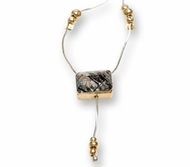 Necklace 925 silver & 9K gold with gf tubes set with a facet turmalited quartz