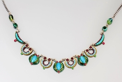Necklace handcrafted blue turquoise pink