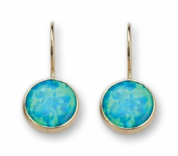 Opal 9 ct gold dangle earrings Boucles d'oreilles