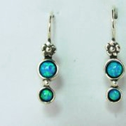 Blue opal on sterling silver earrings