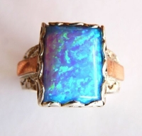 Opal ring silver and gold
