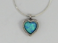 Opal silver heart necklace