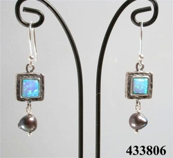 "Opal ""sterling silver earrings"" Handcrafted in Israel"