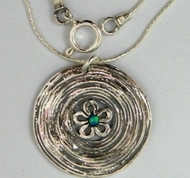 Opal sterling silver necklace Israeli jewelry flower
