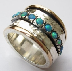 Opals ring sterling silver and gold