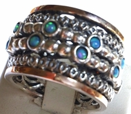 Opals spinner ring silver and gold