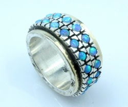Opals spinner ring sterling  silver