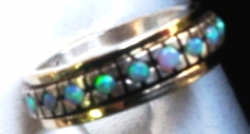 Opals sterling silver gold delicate ring