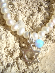 Pearl delicate becklace star of David and opal stone