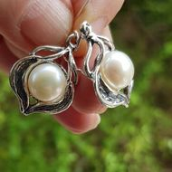 Pearl sterling silver Israeli earrings Boucles d'oreilles