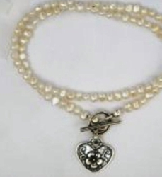 Pearls necklace | Silver heart necklace