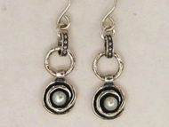 Pearls & silver dangle earrings