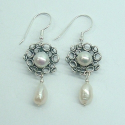 Pearls silver earrings Amazing Gift Sterling Silver Earrings with 4 Freshwater Pearls