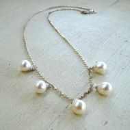 Pearls on sterling silver necklace