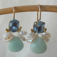 Pearls swarovski citrine feminine earrings