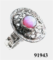 Pink opal sterling silver ring