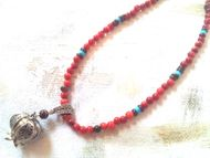 Pomegranate silver necklace garnets corals